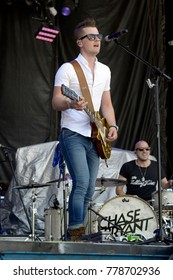 """Manhattan, Kansas, USA, 27th June,   2015 Chase Bryant performs on stage at the annual  """"Kicker Country"""" country music  festival in Manhattan, Kansas."""