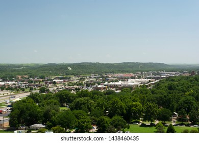 MANHATTAN, KANSAS, USA - June 29, 2019: The City of Manhattan, Kansas is located at the junction of the Kansas and Big Blue Rivers and is home to Kansas State University.