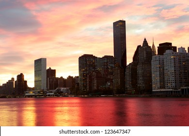 Manhattan midtown architecture, sunset time, New York City