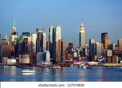 Manhattan Midtown skyline at dusk over Hudson River, New York City