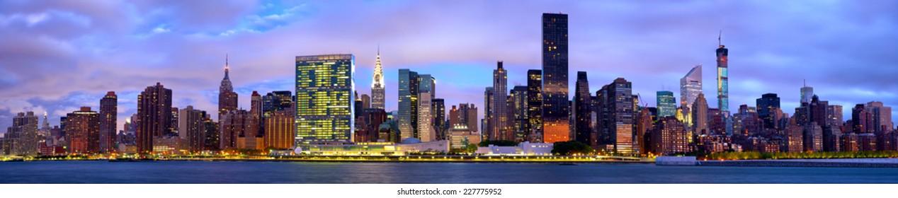 Manhattan Midtown skyline panorama before sunrise, New York