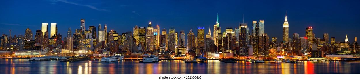 Manhattan Midtown skyline panorama at dusk, New York City