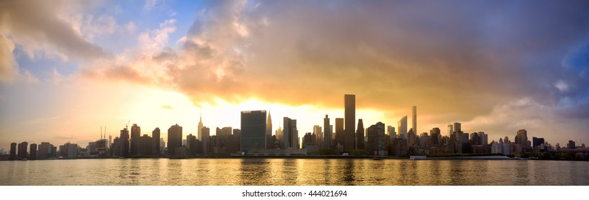 Manhattan Midtown skyline panorama at sunset, New York City