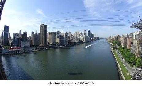Manhattan, New York - 06.02.2017: East River view from Manhattan Bridge.