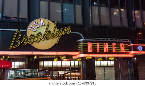 Manhattan, New York; 4-12-2013;  Nightime photo of the Brooklyn Diner neon sign in Times Square
