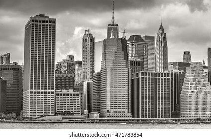 Manhattan, New York, Aug. 20,2016: Lower Manhattan skyline in black and white. Aug. 20, 2016 in New York, USA
