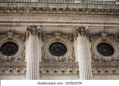 Manhattan New York chamber of commerce facade and columns US