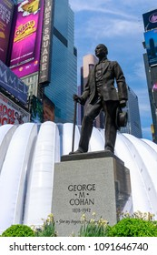 Manhattan, New York City - May 10, 2018 : The statue of George m. Cohan with Street signs at Times Square, NYC