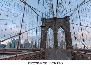 Manhattan, New York City - May 10, 2018 : The Brooklyn Bridge with New York skyline