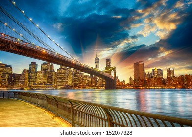 Manhattan, New York City. Spectacular sunset city view.