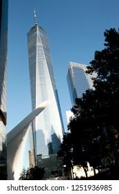 Manhattan, New York City / United States Sep 1 2017 - One world trade center with beautiful blue sky