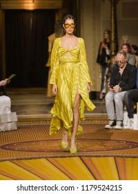Manhattan, New York City/ USA - September 8, 2018: Christian Siriano SS19 Runway Fashion show at Gotham Hall as part of the New York Fashion week