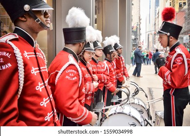 MANHATTAN, NEW YORK CITY, USA - 03.17.2016: Traditional Marching Band at the NYC St. Patrick's Day Parade