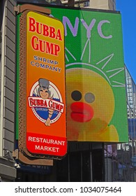 MANHATTAN, NEW YORK CITY/USA - FEBRUARY 21, 2018:  The Bubba Gump Shrimp Company sign in Times Square. Bubba Gump is a chain restaurant for seafood & American fare in a fishing-boat-themed setting.