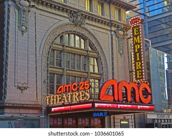 MANHATTAN, NEW YORK CITY/USA - FEBRUARY 24, 2018: The entrance to the AMC Empire 25 cinema complex just off Times Square showing mainstream, independent, and IMAX films on 25 screens.