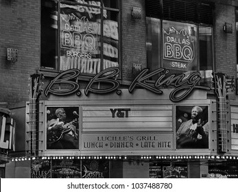 MANHATTAN, NEW YORK CITY/USA - FEBRUARY 24, 2018: B.B. King Blues Club & Grill is a small Times Square nightclub featuring well-known rock, funk & blues acts plus American pub food.