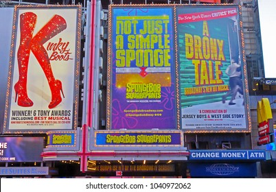 MANHATTAN, NEW YORK CITY/USA - FEBRUARY 21, 2018: FEBRUARY 11, 2017: The marquee of SpongeBob SquarePants the Broadway Musical, flanked by Kinky Boots & A Bronx Tale, playing at the Palace Theater.