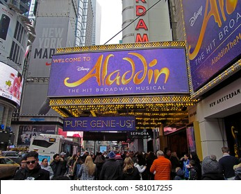 MANHATTAN, NEW YORK CITY/USA - FEBRUARY 11, 2017: The marquee of Disney's Aladdin, A Hit Broadway Musical, which is playing at the New Amsterdam Theatre. Aladdin is directed by Casey Nicholaw.