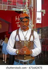 MANHATTAN, NEW YORK CITY/USA - JUNE 20, 2017: Tupac Shakur wax figure at Madame Tussauds New York City location. Madame Tussauds New York is a wax museum located on 42nd Street close to Times Square.
