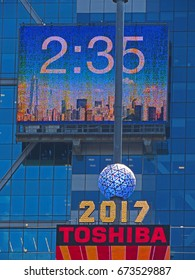 MANHATTAN, NEW YORK CITY/USA - JUNE 20, 2017: Times Square Ball on top of One Times Square Building in Times Square, New York City. The Ball is covered with 2,688 Waterford Crystal triangles.