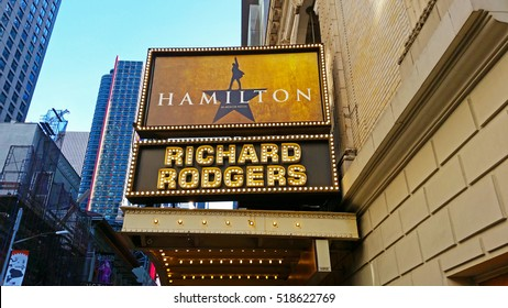MANHATTAN, NEW YORK CITY/USA - NOVEMBER 12, 2016: The marquee of Hamilton, An American Musical, which is playing at the Richard Rogers Theater.