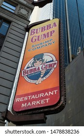 Manhattan, New York City/USA - October 7 2016: The Bubba Gump Shrimp Company Sign In Times Square, Bubba Gump Is a Chain Restaurant Serving Seafood And American Fare.