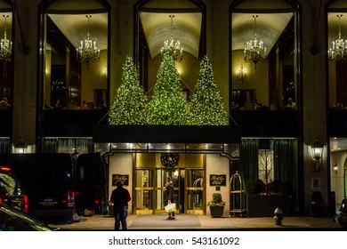 MANHATTAN, NEW YORK - DECEMBER 04, 2016 - Storefronts in Manhattan, New York, decorated for Christmas, New York City, December 04, 2016 in New York