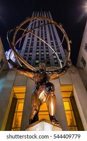 MANHATTAN, NEW YORK - DECEMBER 04, 2016 - Atlas sculpture near the Rockefeller Center in New York City, December 04, 2016 in New York