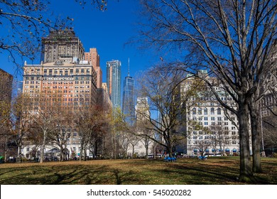 MANHATTAN, NEW YORK - DECEMBER 05, 2016 - Various buildings in Battery Park in New York City in December, December 05, 2016 in New York
