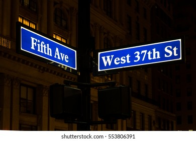 MANHATTAN, NEW YORK - DECEMBER 05, 2016 - View of the signs with the names of the manhattan streets in New York, December 05, 2016 in New York