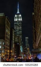 MANHATTAN, NEW YORK - DECEMBER 05, 2016 - View of the Empire State Building in Manhattan, 2016 in New York