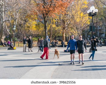 Manhattan, New York - December 06 2015: People relaxing during lazy Sunday afternoon in Washington Square Park.