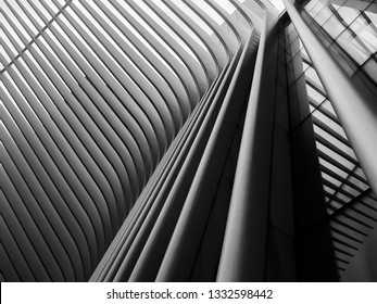 Manhattan, New York - February 15, 2019: Architectural Details of the Oculus Subway Station and Mall in New York