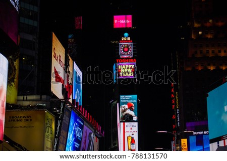 manhattan new york january 1 2018 happy new year billboards on buildings