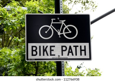 "Manhattan, New York, July 14, 2012: ""Bike Path"" sign on metal pole."