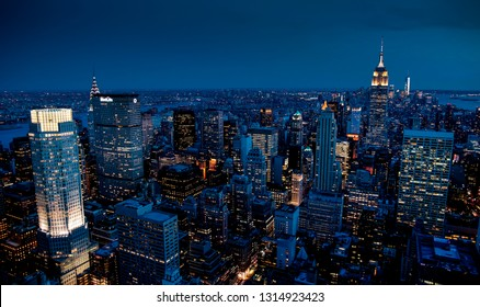 MANHATTAN, NEW YORK - JUNE 18, 2018: New York City skyline view from Rockefeller Center top of the rock