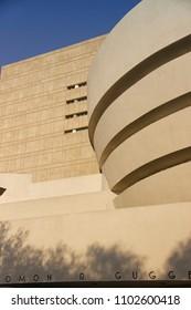 MANHATTAN, NEW YORK - June, 2014: Guggenheim Museum perspective