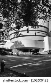 MANHATTAN, NEW YORK - June, 2014: Guggenheim Museum Black and white
