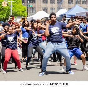 Manhattan, New York, May 18, 2019: 13th Annual New York City Dance Parade and Festival - University Neighborhood High School