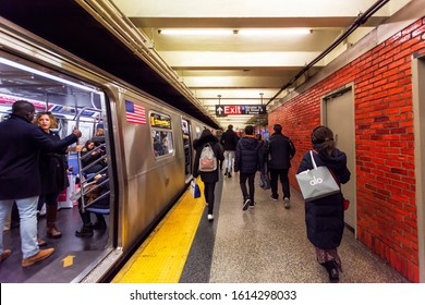 Manhattan,  New York, NY, USA - November 30, 2019. New York City Subway at 49 Street and 7 Avenue.