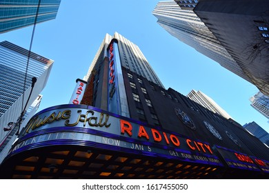 Manhattan, New York, NY, USA - November 30, 2019. Radio City Music Hall building at Rockefeller Center, Midtown Manhattan, NY, USA .