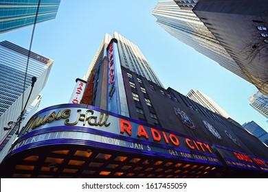 Manhattan, New York, NY, USA - November 30, 2019. Radio City Music Hall building at Rockefeller Center, Midtown Manhattan, NY, USA .