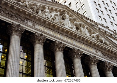 MANHATTAN, NEW YORK - October 26, 2012: The front gate & pillars of the New York Stock Exchange. Editorial Use Only.