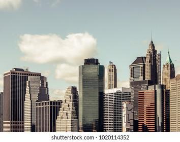 Manhattan, New York Skyline of skyscrapers in a vintage look.