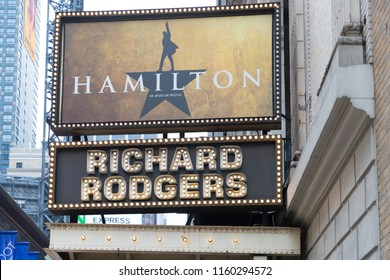 MANHATTAN, New York, United States, August 18, 2018:The marquee of Hamilton, An American Musical, which is playing at the Richard Rogers Theater.