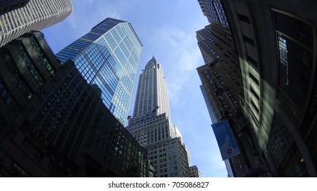 Manhattan, New York, USA, 06.19.2017: Chrysler building from 42nd street.