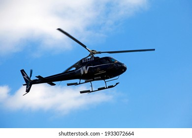 MANHATTAN, NEW YORK , USA - 2 of January 2016 :  The Eurocopter AS350 Écureuil (or Squirrel), now Airbus Helicopters H125, is a single-engine light utility helicopter.