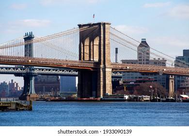 MANHATTAN, NEW YORK , USA - 2 of January 2016 : Brooklyn bridge. Sunny winter day