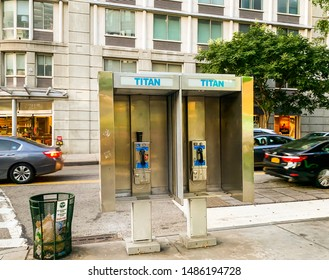 MANHATTAN, NEW YORK, USA - AUGUST 17, 2019: Old phone booths on the streets of Manhattan in New York city, United States