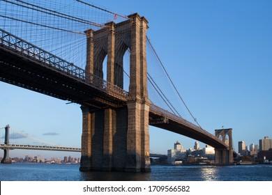 Manhattan, New York / USA - Circa November 2017: View of the Brooklyn Bridge from Lower East Side Manhattan.